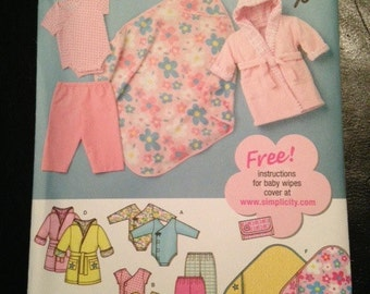 Simplicity, 3711, Pattern, Baby, Body Suit, Pants, Robe, Booties, Blanket, Size XXS, Size XS, Size S, Size M, Size L, Mailed From Canada