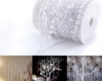 30m/99ft Crystal Garland Hanging Diamond Strands Chandelier Wedding Manzanita Christmas Tree Decoration