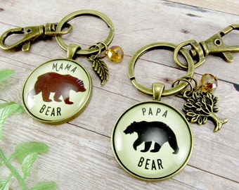 """Mama Bear Papa Bear Matching Keychains Baby Shower Gift Ideas, 1.20"""" Outdoorsy or Outdoorsman New Mom Daddy Bear Jewelry"""