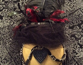 Spiked Gothic Viel with Feather & Chain Headdress