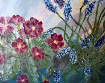 Floral Oil on Board small amateur painting red primroses and grape hyacinths muscari spring flowers