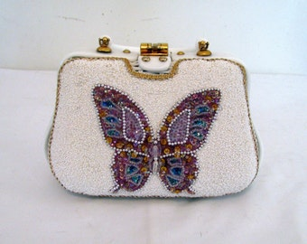Adele Miami Vintage 1950s Box Frame Wicker Purse with Large, Colorful Beaded and Sequined Butterfly, Lucite Handle and Gold Accents
