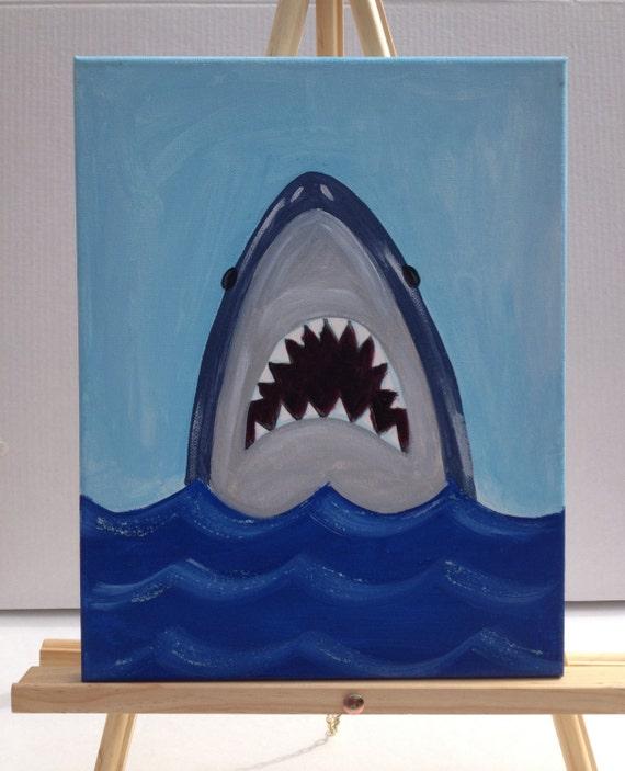 Painting A Boys Room: Items Similar To Shark Painting/Beach Art/Art For Kids