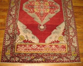 Vintage Turkish Oushak Rug Size 3'3''x5'5''