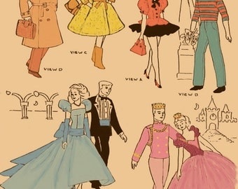 Instant PDF Download Vintage Sewing Pattern a LARGE Wardrobe of  Teenage Doll Clothes for Eleven and a Half Inch Dolls Like Barbie & Ken