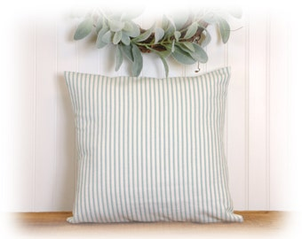 Aqua Ticking Stripe, Accent Pillow