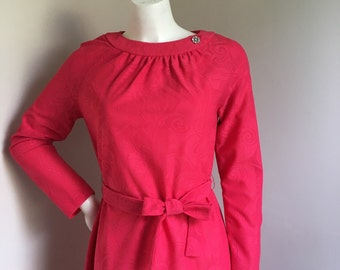 Hot Pink Magenta Lace Long Sleeve Vintage Maxi Dress - Lady Laura by Toni Todd
