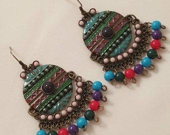 Tribal Earrings - Colorful Earrings - Round Earrings - Circle Earrings - Dangle Earrings - Women's Earrings - Bronze Earrings-Large Earrings