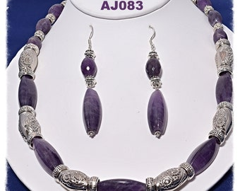 AJ083 - Large Amethyst with silver accents necklace set.