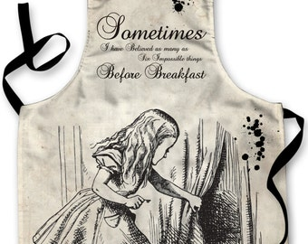 Alice In Wonderland Quote Design Apron Kitchen bbq Cooking Painting Made In Yorkshire