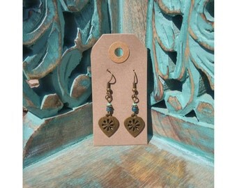 Handmade heart boho earrings with Czech glass beads.