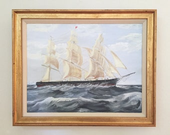 Sailing the Open Seas Original Vintage Ship Painting Signed Framed