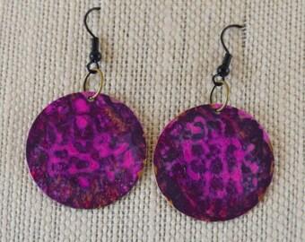 pink and purple on brass - Earrings - OOAK