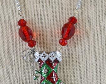 Holiday Necklace - 'Stocking' - OOAK
