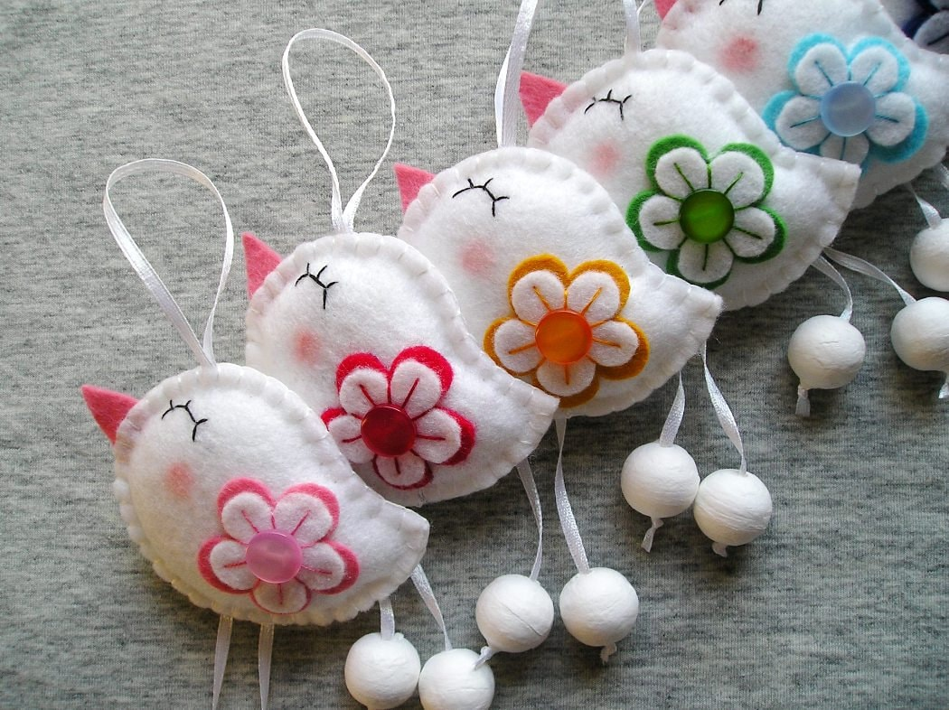 Wool felt ornaments - White Felt Birds Ornaments Cute Funny Flowers Animals Home Decor White Red Pink Yellow Green
