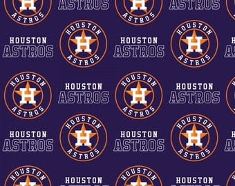 PREORDER-Houston Astros Cotton Fabric -One Yard Cut, words, writing,Pattern #6682B-Shipping December 10, 2017