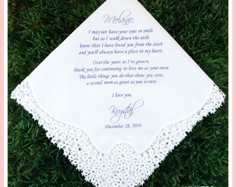 Stepmother wedding handkerchief from the bride-PRINT-CUSTOMIZED-Wedding Hankerchief-Mother of the bride Gift-Stepmom personalized gift