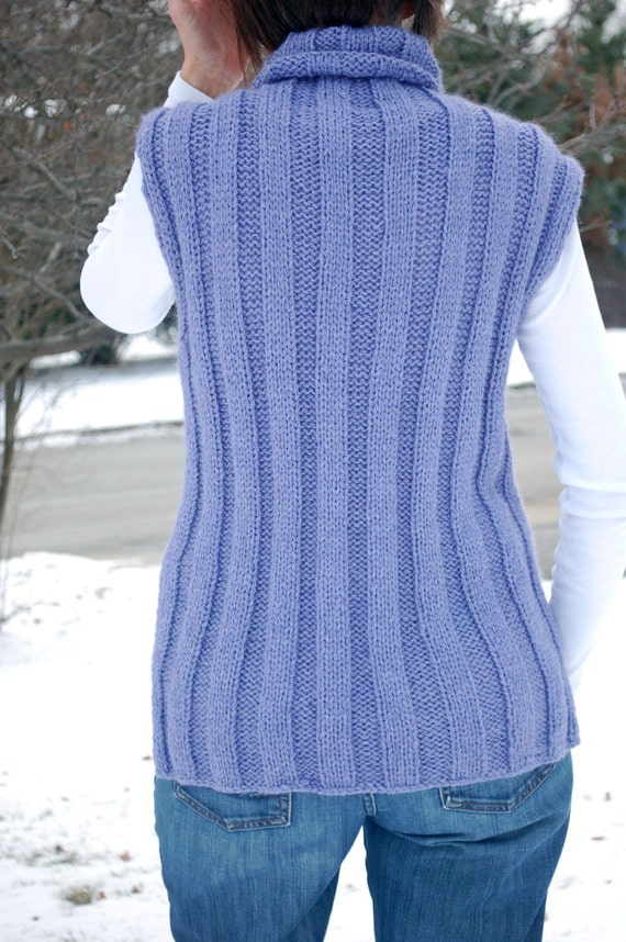 Easy to knit Womens Ribbed Knit TurtleneckVest, Turtle ...