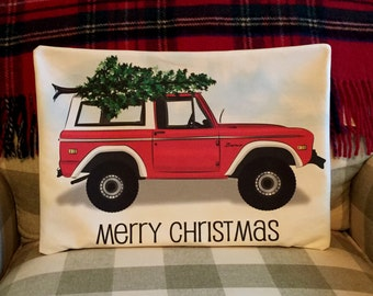 Christmas pillow cover - RED 1972 FORD BRONCO with Merry Christmas