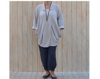 Lagenlook Plus Size Wrap Top Cardigan Cotton Linen Quirky Artsy Pockets UK Sizes 14 16 18 20 22 24 26/US 12 14 16 18 20 22 l xl xxl V46