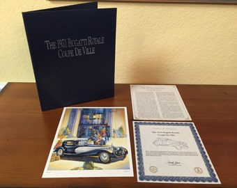 Franklin Mint 1931 Bugatti Royle Coupe De Ville Certificate of Authenticity Vintage Collectible Certificate