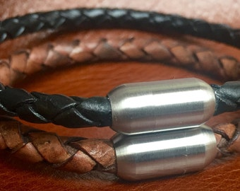 Black or Antique Brown Braided Leather Bracelet