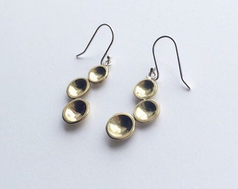 TRI DROP EARRINGS - Brass Circles Drop Earrings - Sterling Silver Polished Brass Dangle Earrings