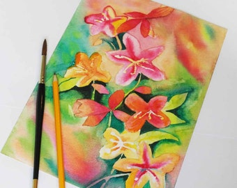 Original flower watercolor, multicolored, flowers, floral painting