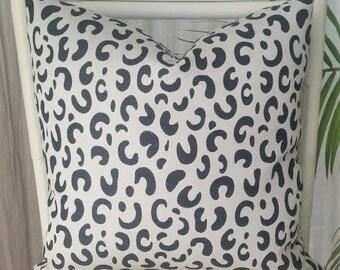 Black Leopard Cheetah Animal Print Pillow Cover - black, light gray