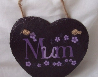 Natural Rustic Slate Heart Hand Painted Message 'MUM' Hanging Slate Heart