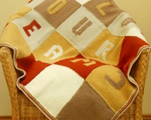 Hand Knitted Blanket. Patchwork Blanket. Lap Blanket. Afghan. Quilt. Throw Blanket.  Follow your Dreams.  Rustic Tones/ Rustic Home Decor.