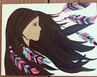 Girl with feathers in her hair, Hand painted canvas art, Colorful wall decor, Indian girl painting, painting of a brunett, Acrylic painting