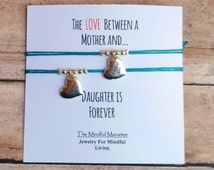 Mother Daughter Bracelet Set on a The Love Between A Mother and Daughter card,  Heart Bracelet, Mom Bracelet, Daughter Bracelet