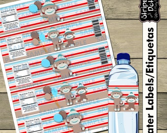 Sock Monkey Water label,Sock Monkey Party,Sock Monkey Favors,Sock Monkey labels, Printable Water labels,Sock Monkey,Instant Download