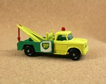 Matchbox No. 13 Dodge Wreck Truck - 1960s Yellow and Green Matchbox Lesney Series Diecast Car - Vintage Collectible Miniature Toys