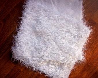 WHITE SHAGGY MONGOLIAN Long Pile Faux Fur,Faux Fur Fabric,Newborn Photo Prop,Faux Fur Prop,Basket Filler,Basket Stuffer,Craft Fur,Blanket