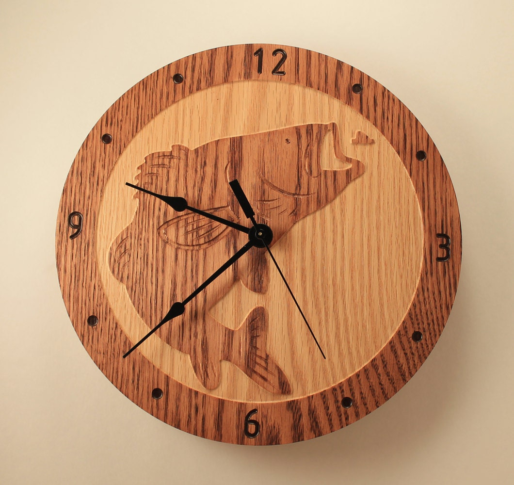 Oak bass fish clock wood clock wall clock wooden wall clock for Fish wall clock