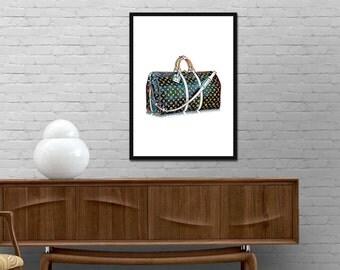Louis Vuitton Bag Print LV Monogram Birkin Bag Illustration Poster Modern Design Fashion wall art Girl Room Vogue decor Best price art