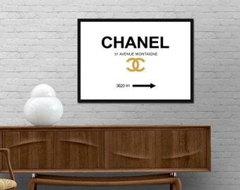 Chanel Distance Mark Print Modern Brand Fashion Poster Minimalist Black Gold wall art Graphic design decor Coco Chanel Best price canvas art