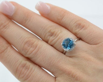 Blue topaz ring. Topaz ring. Cz blue topaz ring. Sterling silver topaz ring. December birthstone ring. Blue stone ring. Birthstone ring.