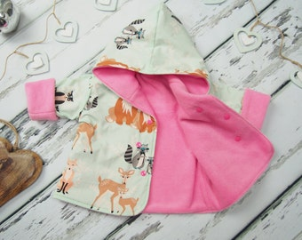 Baby Girls Jacket - Reversible Jacket - Baby Coat - Girls Coat - Winter Coat - Girls Hoodie - Fleece Jacket - Baby Hoodie - Fleece Coat