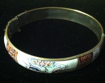 Vintage Silver Plated & Enameled Bracelet