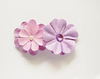 Purple flower hair barrette, girls hair accessories, paper flowers, adult hair barrette, children's hair barrette, spring hair, summer hair.