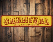 Carnival Sign, Personalized Boardwalk Sign, Custom Beach Location Sign, Beach House Sign, Beach House Decor - Quality Aluminum ENS1001342A