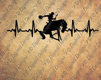 Rodeo Horse EKG Svg Png Dxf Eps Fcm Ai Cut file for Silhouette, Cricut, Scan n Cut Horse rider Horse Lover Rodeo