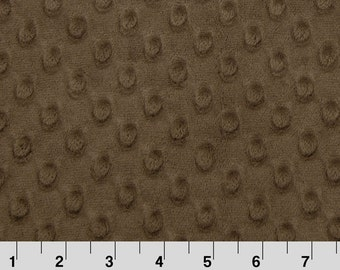 Brown Minky Fabric by the yard with Dimple Dot Embossing