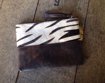 Zebra Animal Print Cow Hide Leather Fur Wristlet / Clutch / Coin Purse
