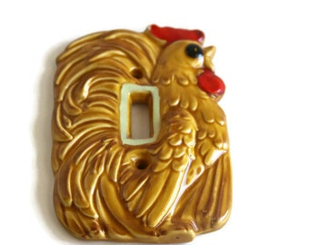 Vintage Kitchen Switch plate, Glow in the Dark Lightswitch Cover, Enesco Chicken Switch Plate, Retro Switch Plate, Light Switch Cover,