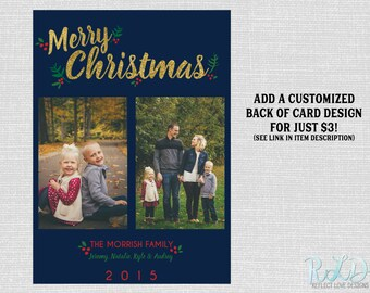 Christmas Photo Card Merry Christmas Gold 2 Photos Digital Printable File