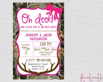 Oh deer! Pink and Camo Girl Baby Shower Invitation Antlers and Bow Digital Printable File